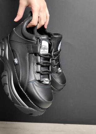 Кроссовки кожаные полностью черные баффало на платформе 38,39, 40