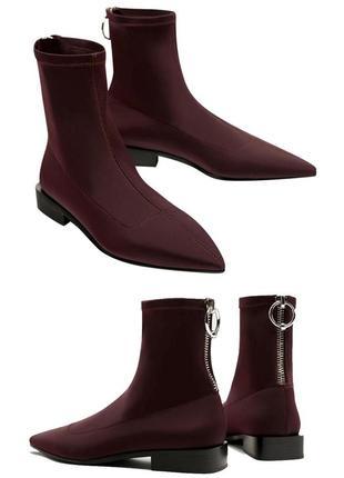 Ботинки/ботильены носки/чулки с острым носком zara sock boots