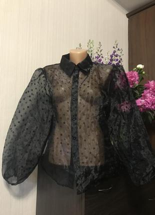 Актуальная блуза в горох прозрачная с объёмными рукавами под zara