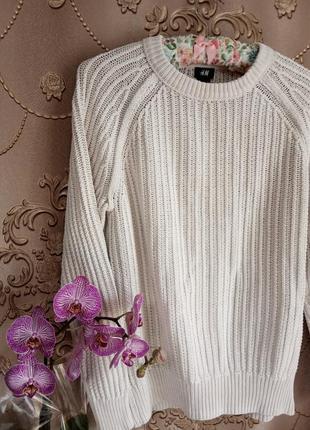 Белый свитер h&m 100% хлопок