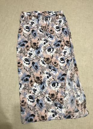 Летняя юбочка с разрезом и карманами