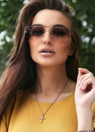 Солнцезащитные коричневые очки с двухцветными линзами (1376 svtt)