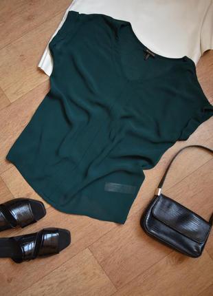 Massimo dutti бутылочного цвета зеленая блузка прямая стильная оригинал качественная
