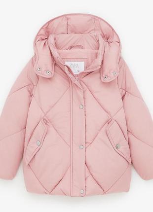 Демисезонная куртка на девочку zara испания размер 152 розовая оригинал