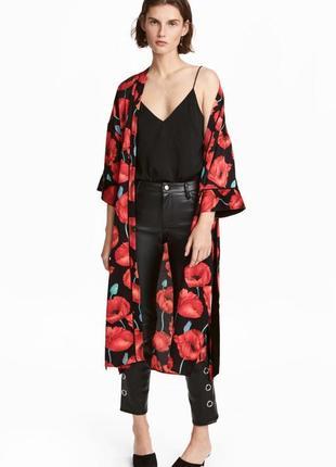 Крутое миди кимоно, накидка в маки от h&m - м-л - можно от м до хл