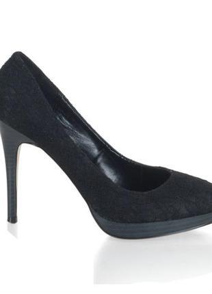 Wild diva черные кружевные  туфли лодочки из сша р 35.5 -36