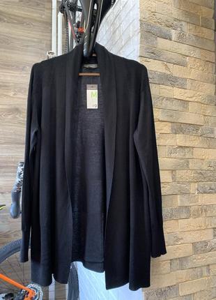 Кардиган накидка свитер чёрный  лёгкий  новый трикотаж без застежки