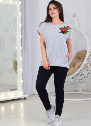 Повседневный женский трикотажный костюмчик футболка + капри штаны (803/1)