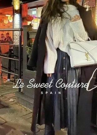 Новая чёрная кожаная юбка миди с плиссировкой zara