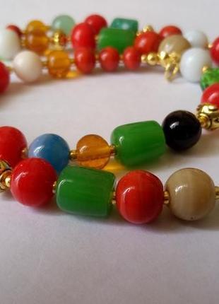 Ожерелье натуральный сердолик, агат, стекло лэмпворк