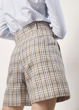 Massimo dutti шорты оригинал шерсть высокая посадка в клетку клетчатые бермуды