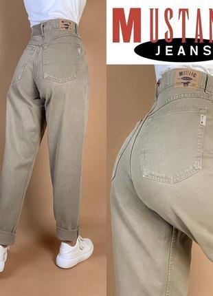 Винтажные джинсы мом /бежевые/баталы/высокая посадка mustang.
