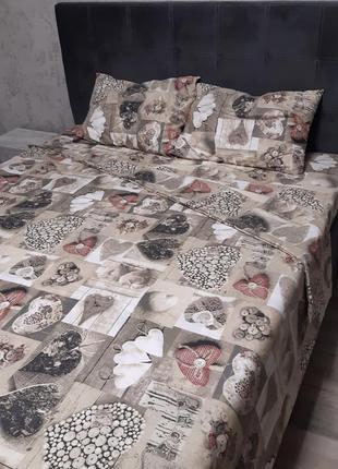 Комплект постельного белья евро из бязи красные сердца