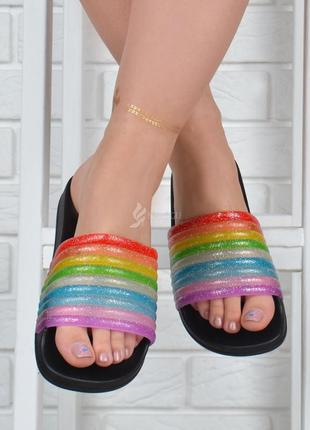 Шлепанцы женские силикон rainbow bomb черные с разноцветным