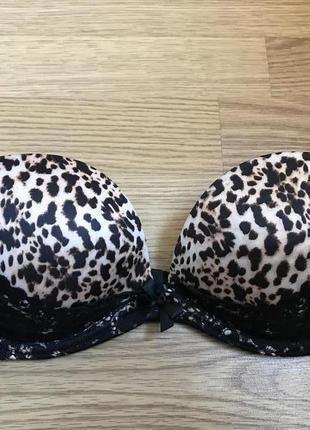 Черный леопардовый кружевной бюсгалтер лиф с пуш апом victoria`s secret