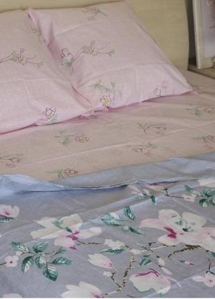 Комплект постельного белья из бязи  евро размера цветы с компанией2 фото