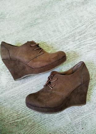 Ботинки замшевые на платформе коричневый
