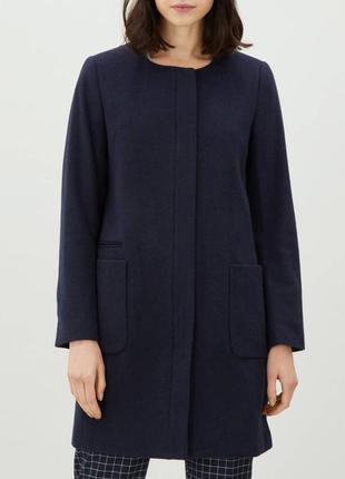 H&m шерстяное темно синее пальто на пуговицах прямое стильное натуральное шерсть