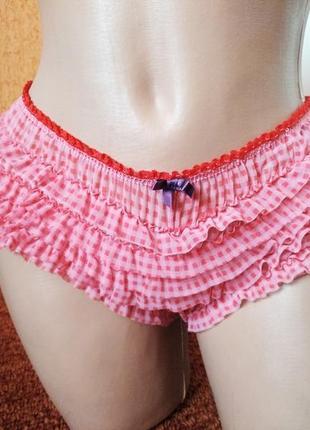 Женские красные трусики трусы шортики с рюшами нижнее белье