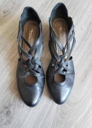 Шикарні чорні туфлі шкіряна стелька по бокам відкриті
