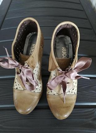 Супер  класснючие летние туфли с перфорацией на каблуке rucoline