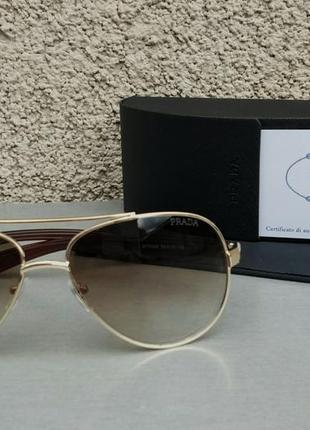 Prada очки капли мужские солнцезащитные коричневые с градиентом