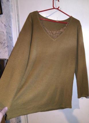 Чудесная,тёплая,женственная,горчичная (фото2) туника-джемпер с кружевом,большого размера