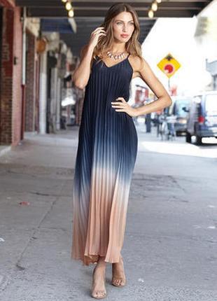 Шикарное длинное платье омбре плиссе в пол