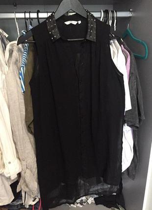 Прозрачная блуза рубашка туника с шипамы new look