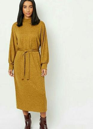 Идеальное горчичное макси платье/платье с длинным рукавом