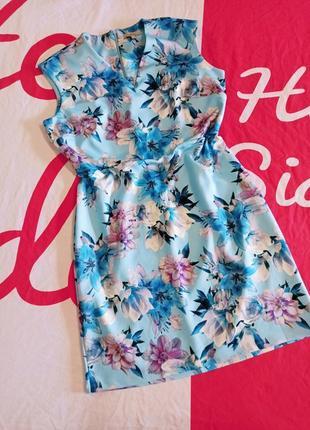 Вечернее платье футляр миди длинное в цветы большого размера батал