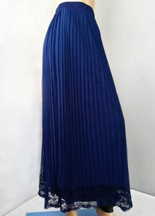 Шикарная юбка плиссе, сетка, юбка макси плисе, синего цвета , кружево