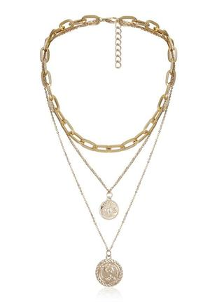 Цепочка крупная цепь колье ожерелье три цепочки новая качественная под золото