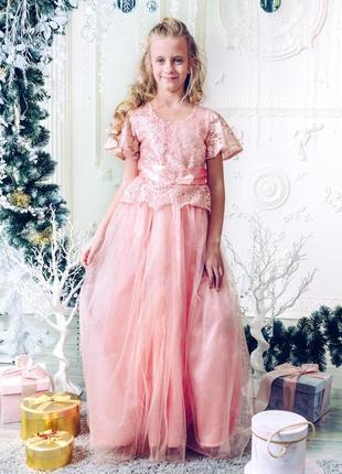 Шикарное платье для девочки в пол m053