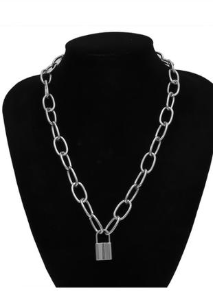 Цепочка цепь крупная колье ожерелье с кулоном замком новая качественная под серебро