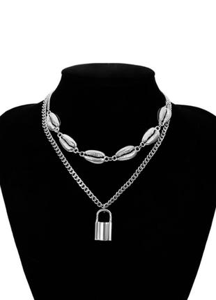 Цепочка цепь крупная колье ожерелье  2 цепи с кулоном замком ракушки новая  под серебро