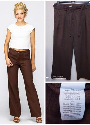 Шоколадные льняные брюки terranova, p. l/xl
