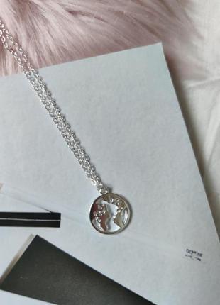 Цепь цепочка ожерелье колье кулон земля под серебро новая