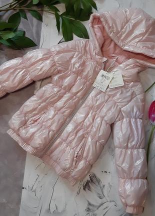 Демісезонна куртка/ рожева куртка/стьобана куртка з каптуром
