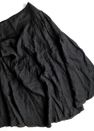 Чёрная льняная юбка sarah pacini