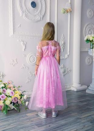 Детское платье в пол нарядное пышное с 3д цветами жемчугом m0482 фото