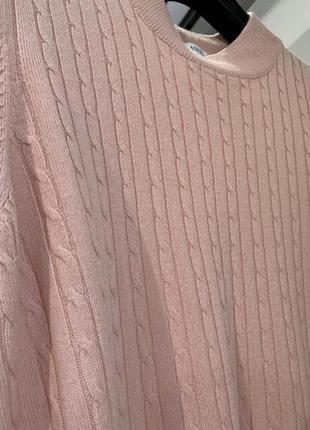 Кофта джемпер пуловер  под шею в косичку красивого розового оттенка