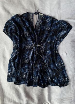Блуза большой размер синяя вискоза свободный крой летучая мышь