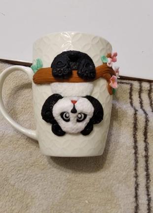 Кружка с полимерной глиной панда
