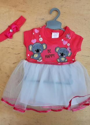 Платье baby rico «be happy», красный, девочка 0-3-6 месяцев