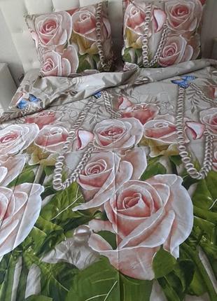 Комплект постельного белья двуспальный из бязи розы, жемчуг