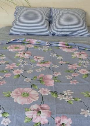 Комплект постельного белья из бязи двуспальный  цветы/ полоса