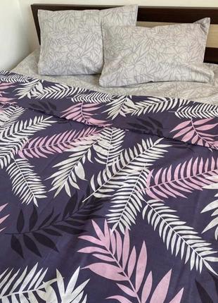 Комплект постельного белья из бязи евро размера листья