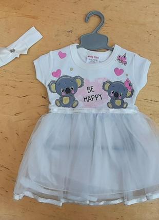 Платье на малышку трикотажное с фатиновая