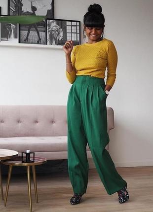 Широкие брюки из смесовой шерсти h&m p l-xl